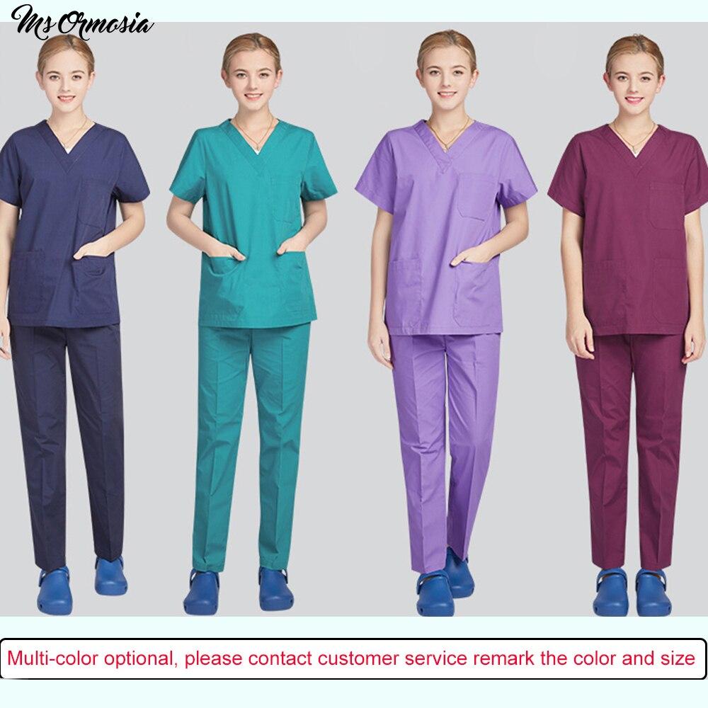2020 nuevo Unisex uniforme manga corta traje dividir cepillo uniforme traje multicolor farmacéutico ropa de trabajo salón de belleza de uniforme