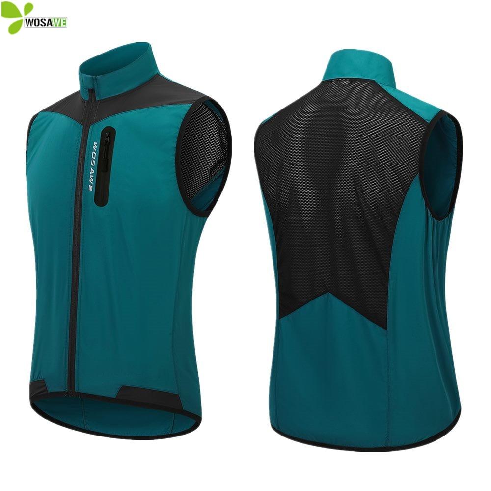 WOSAWE Lightweight Cycling Vest Windproof Waterproof Running MTB Bike Bicycle Reflective Clothing Sleeveless Jacket Jersey