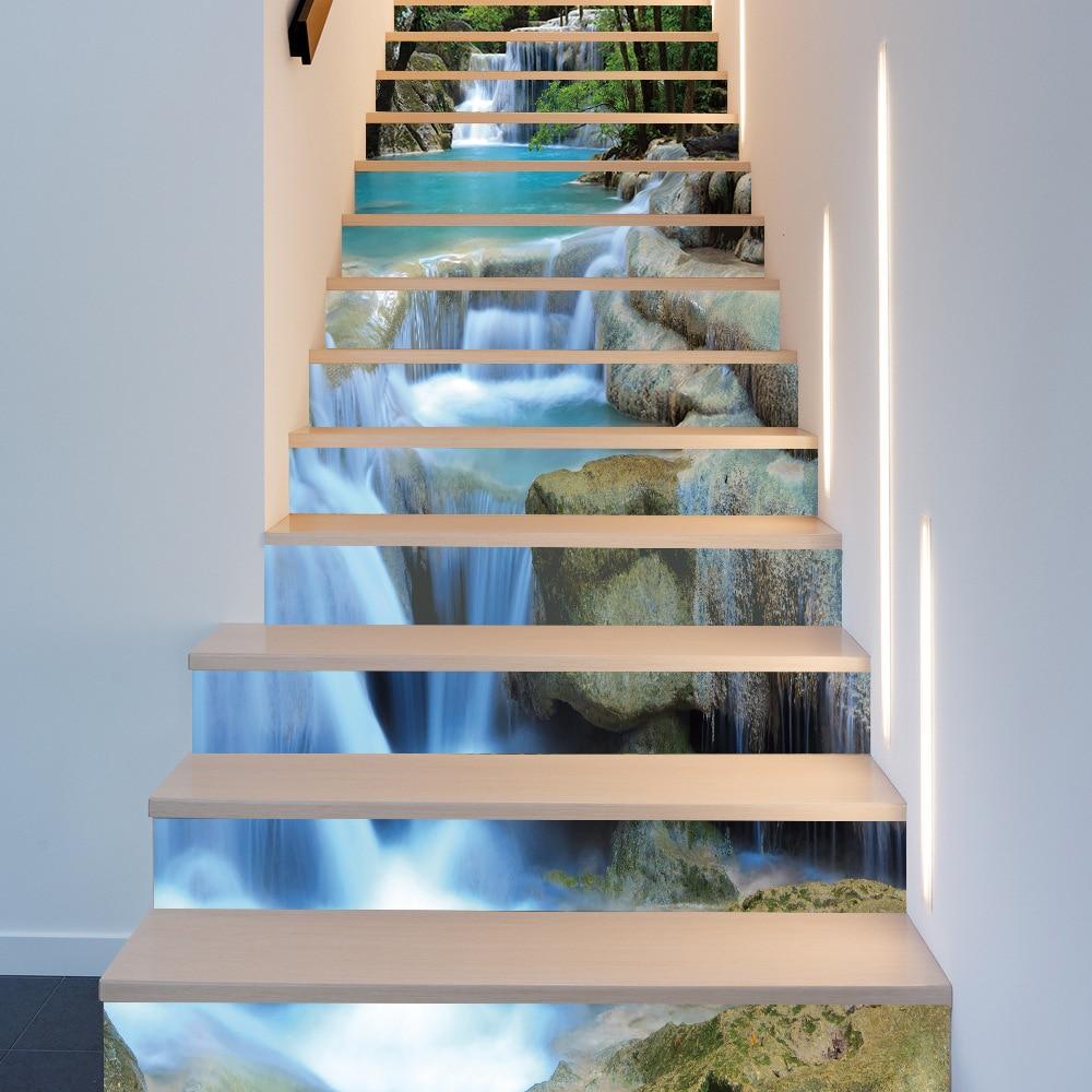 13Pcs/set Mountain Stream Waterfall Stairway Wall Stickers Room Stairs Decoration Step Floor Wallpaper Waterproof PVC Art Mural