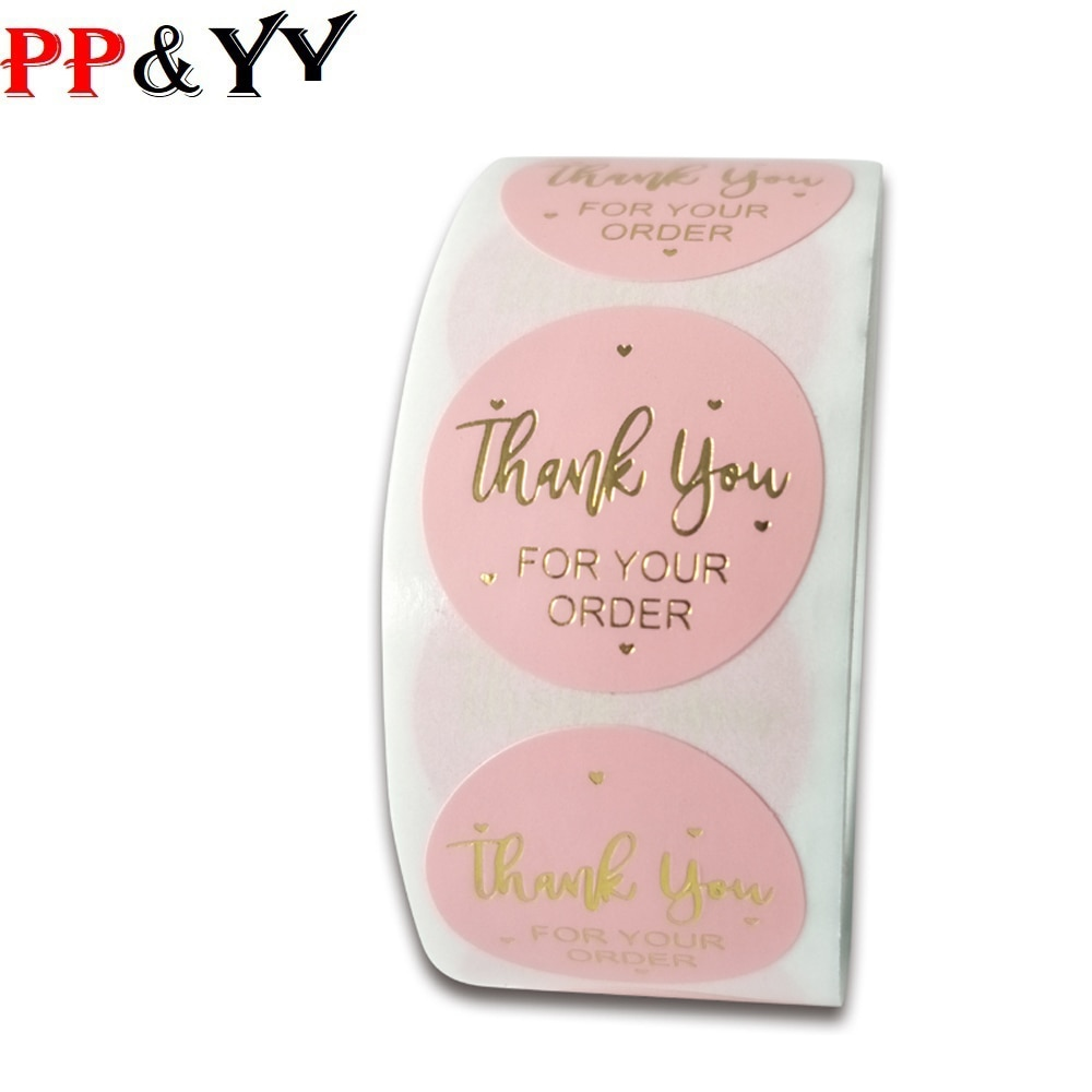 100-500pcs Pink Thank You For Your Order Stickers 1 Inch Wedding Party Favors Envelope Seal Labels Stationery
