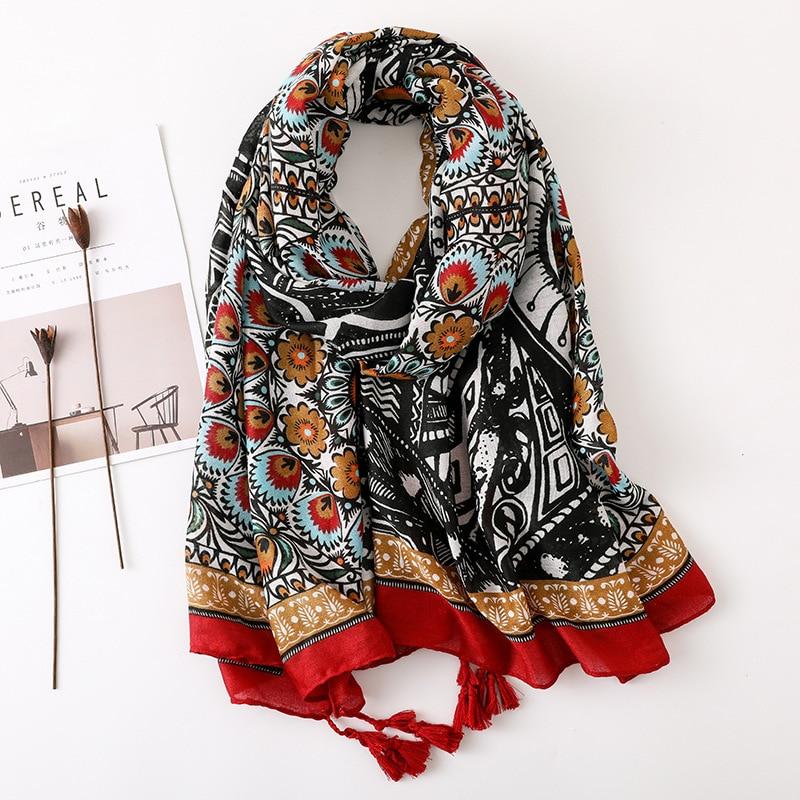 2021 Spring Ethnic Women Long Scarf Tassel Polyester Viscose Shawls and Wraps Ladies Hijab Scarf War