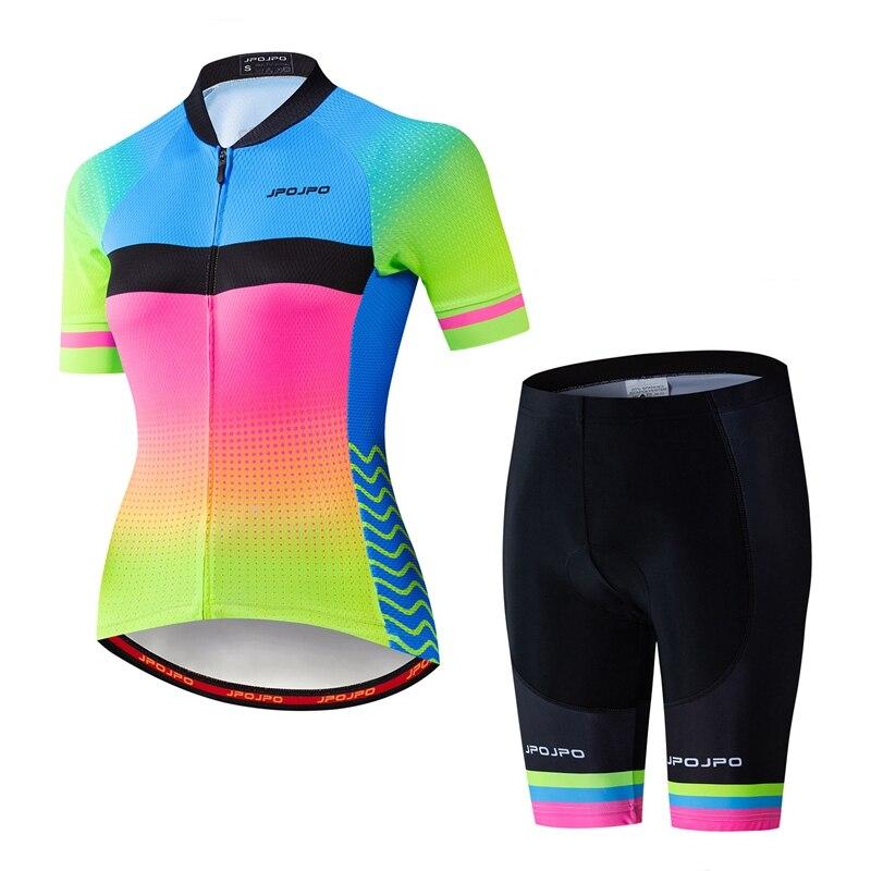 JPOJPO 2020 ciclismo Jersey conjuntos mujeres MTB bicicleta Jersey de secado rápido de manga corta rápido seco bicicleta Ropa de camisa de traje de Ropa