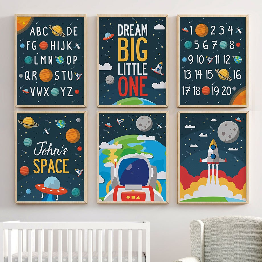 Alfabeto de dígitos árabes espacio nave arte de la pared de dibujos animados pintura en lienzo carteles nórdicos e impresiones cuadros de pared bebé niños habitación Decoración