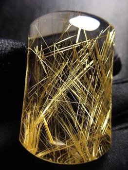 Natural Gold Rutilated Quartz Water Drop Pendant Gemstone 48.6*29*13.7mm Brazil Wealthy Women Rare Jewelry Genuine AAAAAA