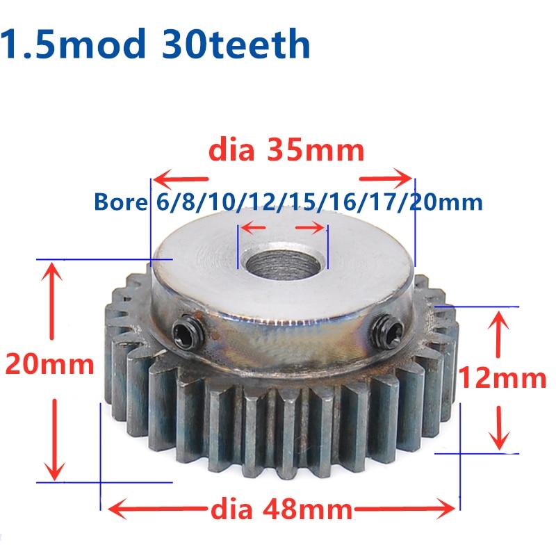 Quench Spur Gear pinion 1.5M 30T 30Teeth Mod 1.5 Width 12mm Bore 8-20mm Right Teeth major gear cnc gear rack transmission RC