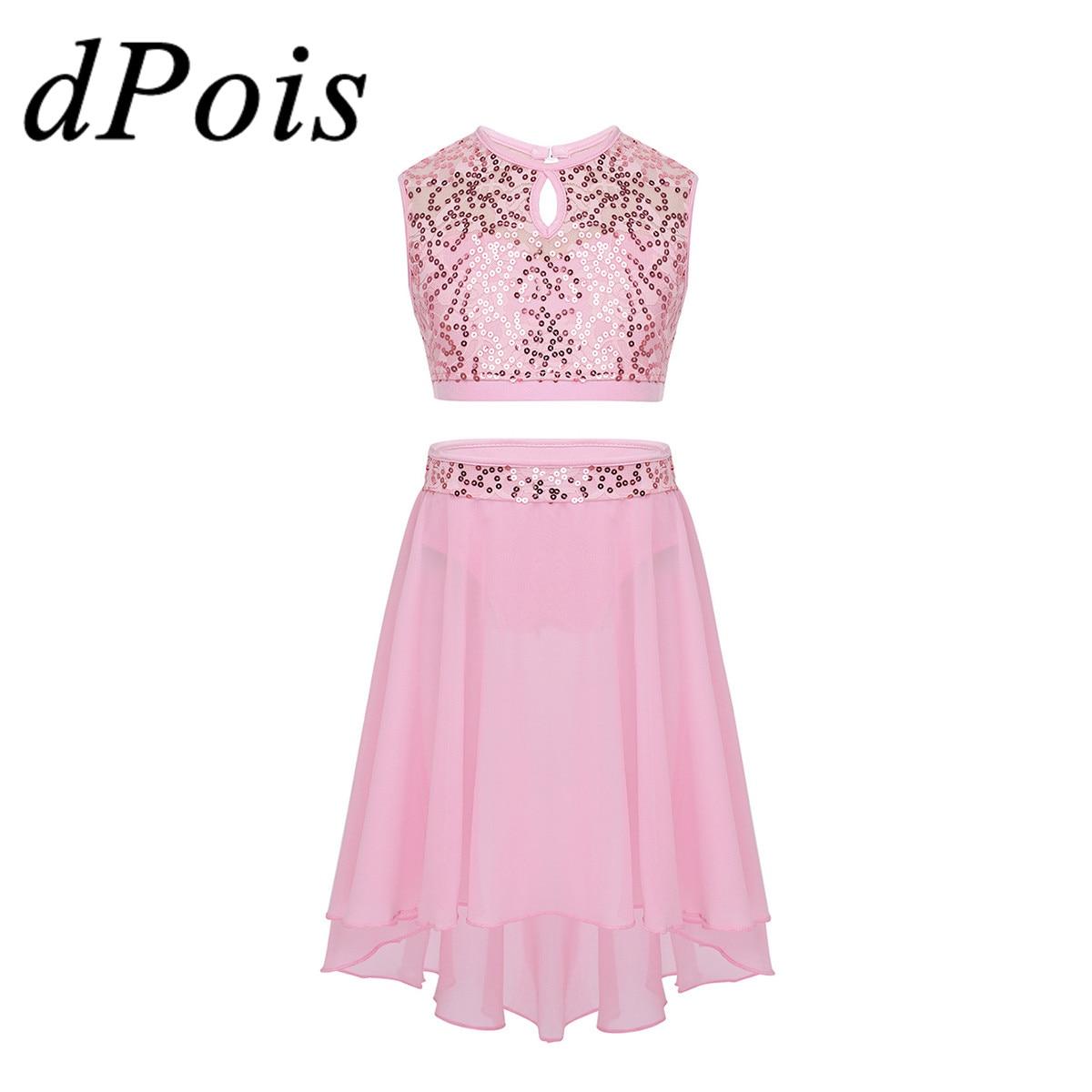 DPOIS Kids Girls Ballerina Costume Ballet Dance Dress Outfit Child Lyrical Praise Stage Dance Wear Sequins Crop Top & Tutu Skirt
