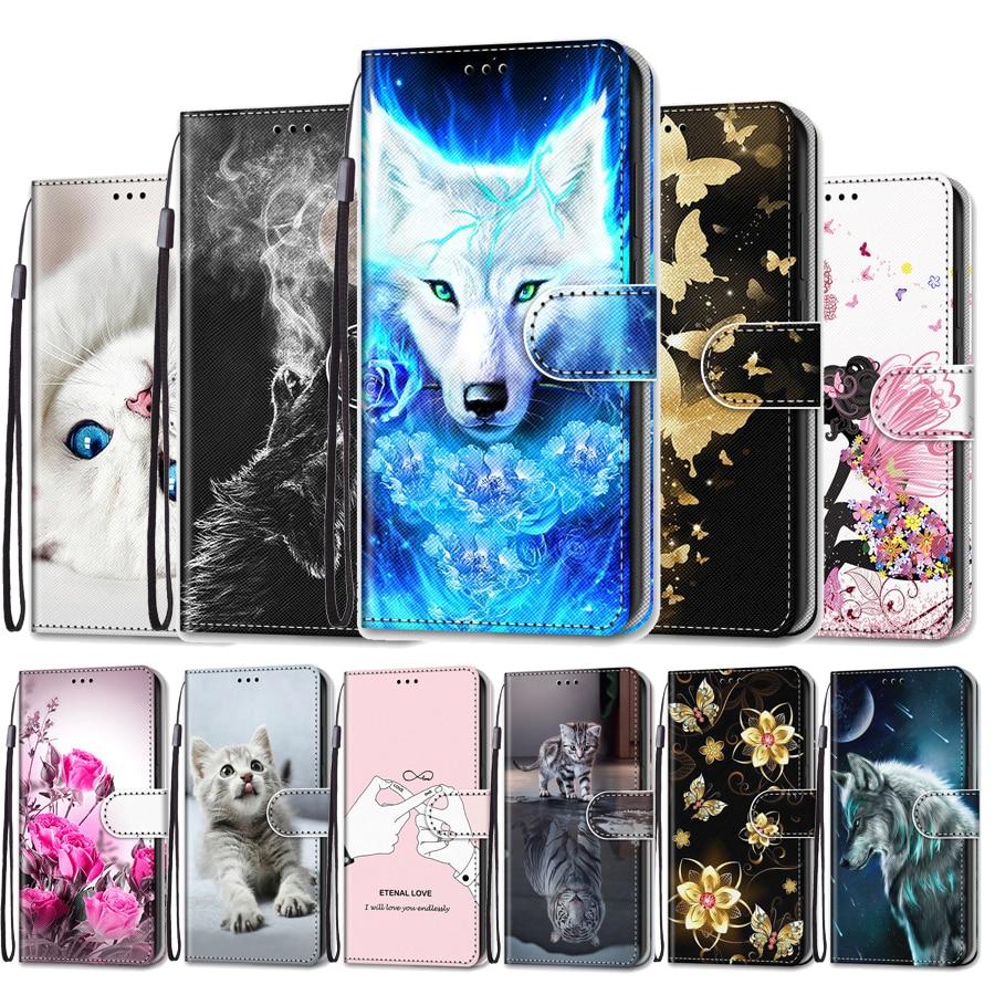 Capa de teléfono para LG V40 V50 Stylo 5 X Power Case Flip Cat flor Funda de cuero para LG V40 V50 ThinQ 5G Funda cartera libro cubierta bolsa