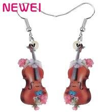 NEWEI acrylique Antique violon à fleurs violon boucles doreilles Instrument goutte bijoux pour femmes fille adolescent enfant charme décoration cadeau