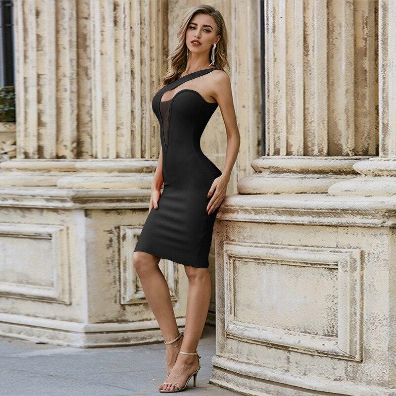 فستان حريمي مثير بأشرطة للحفلات والنوادي والمشاهير فستان ضيق أنيق بدون أكمام متوسط الطول للحفلات المسائية باللون الأسود والبرتقالي