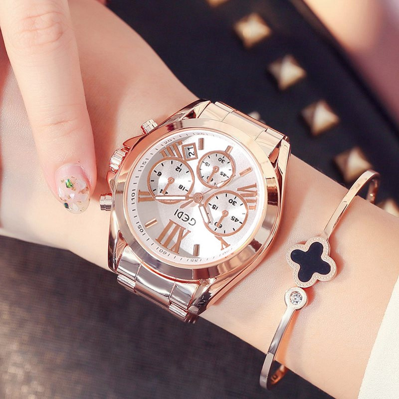 Top Brand Rose Gold Women Watch Luxury Waterproof Calendar Unique Quartz Business Dress Watches for Female Golden Lady Clock enlarge
