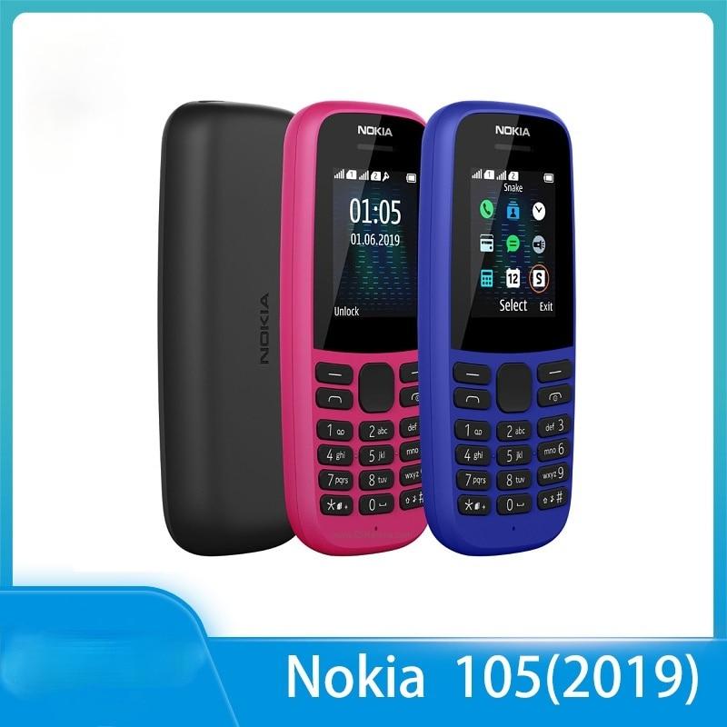 Перейти на Алиэкспресс и купить Nokia 105 (2019) Восстановленный Оригинальный 105 (2019) телефон с двумя Sim-картами 2G GSM 800 мАч разблокированный дешевый мобильный телефон
