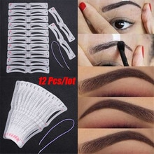 12Pcs/Set Grooming Eyebrow Stencil Kit Makeup Tools DIY Beauty Eyebrow Template Stencil For Women Be