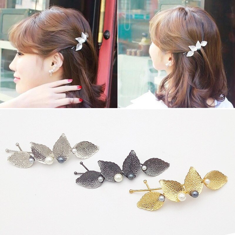 3 estilos de moda metal grampos de cabelo folha forma pena barrettes para mulheres geometria hairpin headwear acessórios para o cabelo ferramenta de estilo