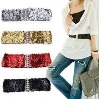 bling slim womens rivet sequins elastic stretch wide waist belt waistband