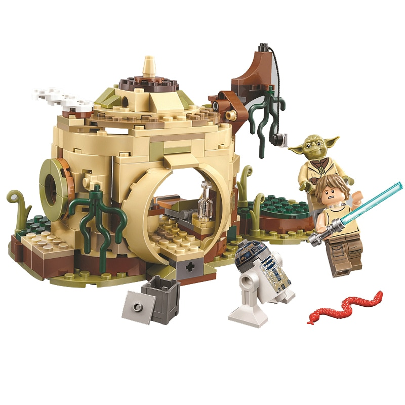 Bela 10904 star wars série yoda, hut, luke, skywalker, R2-D2 bloco de construção, 241 peças, tijolos, brinquedos compatíveis com lepining