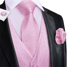 Oi-tie colete masculino rosa 100% seda para o casamento pêssego alta qualidade colete coral para homens bolso hanky abotoaduras conjunto