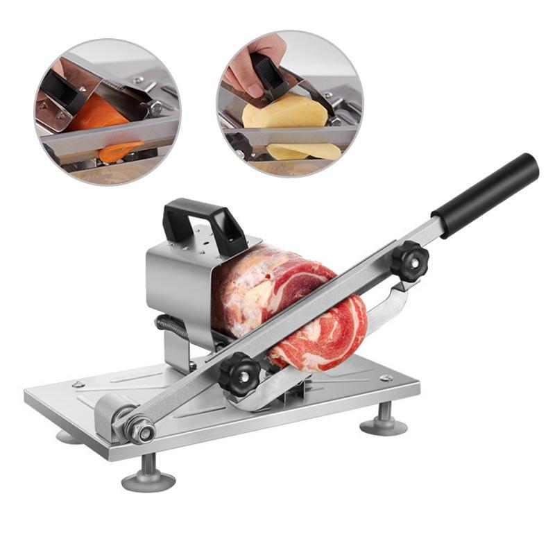 الفولاذ المقاوم للصدأ آلة تقطيع اللحوم قطع لحم البقر لحم الضأن دليل لفة تقطيع البطاطس سمك تعديل آلة اللحوم المسوي التجارية