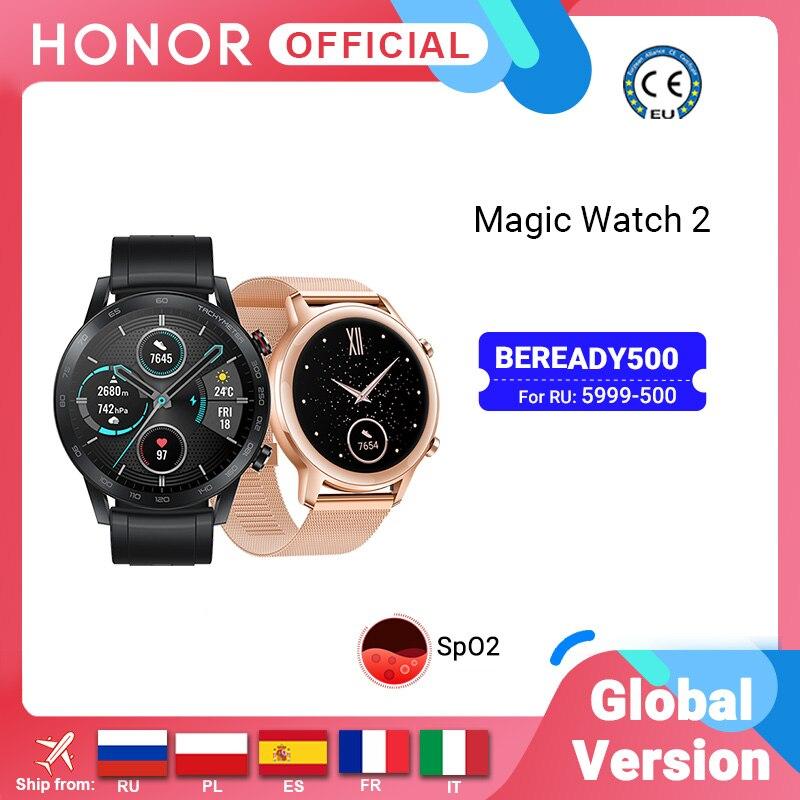 متوفر الإصدار العالمي ساعة الشرف السحرية 2 ساعة ذكية بلوتوث 5.1 ساعة ذكية الأكسجين في الدم 14 يوما مقاوم للماء MagicWatch 2