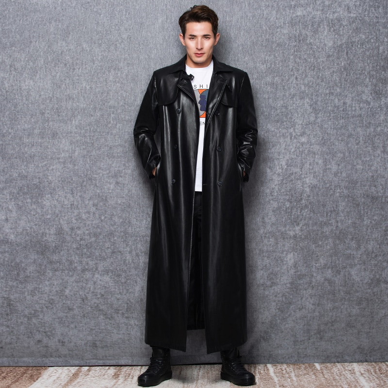 Lautaro Long black leather trench coat men long sleeve double breasted spring autumn plus size pu leather mens clothing 6xl 7xl