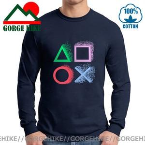 Vintage Splash design PS gaming T shirt Xbox Game play station T-shirt Hip Hop Long tshirt Retro PS1 PS2 PS3 PS4 Gamer brand Tee