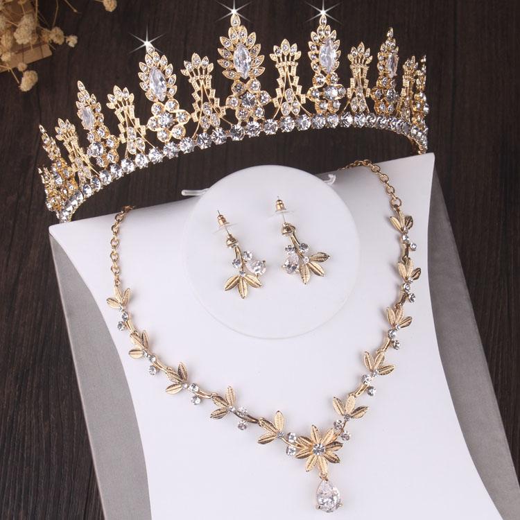 Ensemble de bijoux de mariée en strass, Vintage, feuille de cristal, Baroque, couronne de mariage, diadème, boucles doreilles, collier, perles africaines, ensemble de bijoux