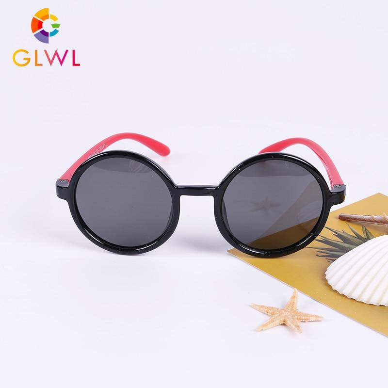 GLWL 2020 جديد مرنة الاطفال النظارات الشمسية الأطفال نظارات إطار مستدير نظارات شمسية مستقطبة بنين فتاة سيليكون آمنة UV400