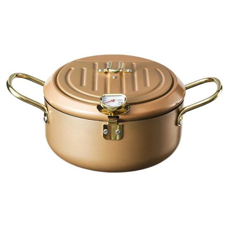 مقلاة المنزلية ميزان الحرارة غير عصا Tempura المقلاة العميقة الكربون الصلب سهلة التنظيف المطبخ الدجاج المقلية القلي GH1088