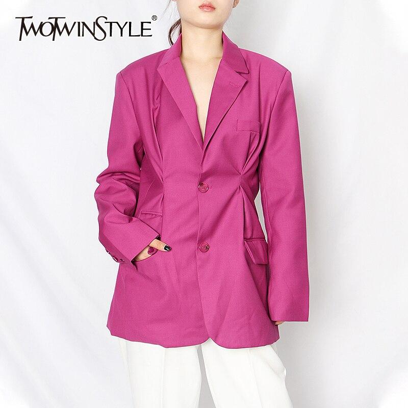 Twotwinstyle ruched blazer preto para mulher entalhado manga longa casual minimalista blazers feminino 2020 outono moda roupas novas