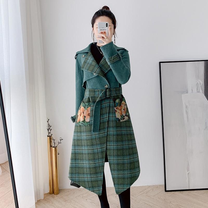 Real Fur Coat 100% Woolcoat Autumn Winter Jacket Women Clothes 2020 Printing Korean Vintage Woolen Tops Manteau Femme ZT4364