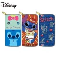 disney new stitch pu long zipper wallet stitch wallet student cute wallet birthdaywomen wallets moon purse gift coin purse