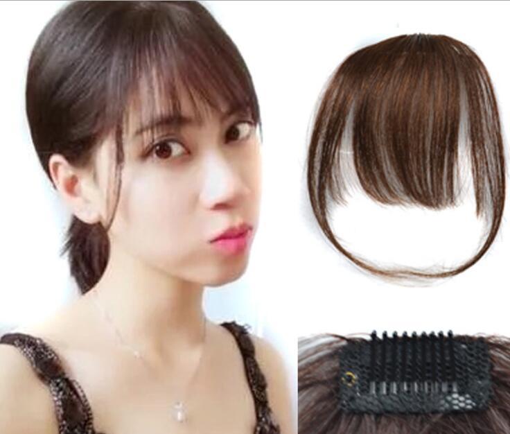 ZM 4 colores marrón negro sintético aire flequillo Clip en el pelo flequillo postizo sintético falso flequillo pelo pieza Clip en extensiones de cabello