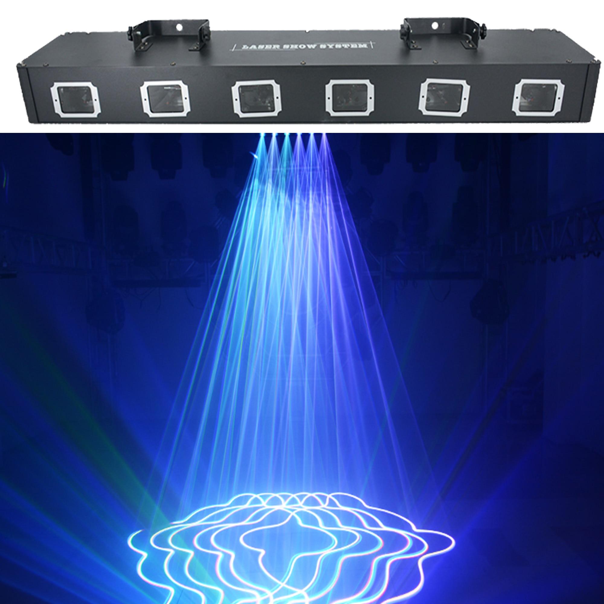 RGBY-مصباح عرض ليزر بستة رؤوس ، DMX 512 ملون ، جهاز عرض ، حفلة عيد الميلاد ، DJ ، ديسكو ، معدات رقص أرضية