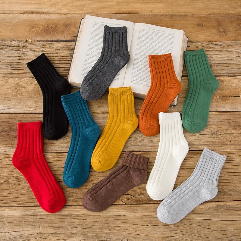 2019 mujeres calcetines de algodón de moda de Color caramelo Casual estilo coreano mujeres lindo calcetines Conjunto 1 pares Otoño Invierno niñas calcetines de algodón