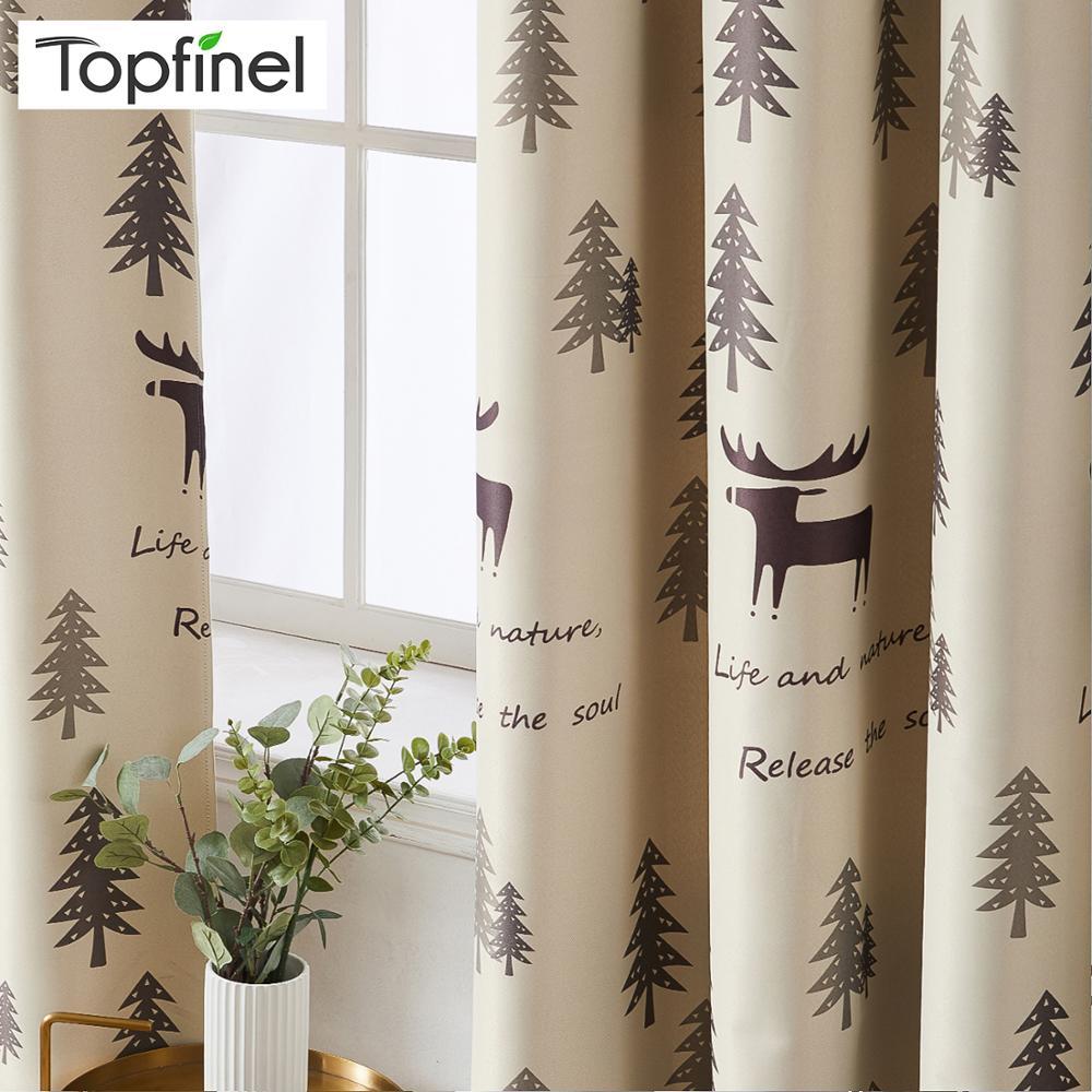Topfinel de dibujos animados Elk impresión cortinas opacas para sala de estar dormitorio chico habitación de decoración castillo cortinas ventana tratamiento cortina