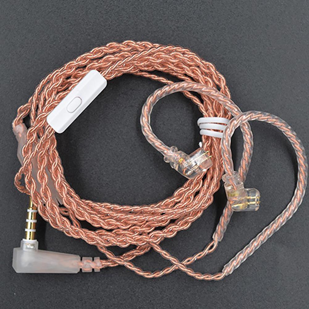 Reemplazo de cobre libre de oxígeno KZ 0,75mm chapado en oro B/C Pin auricular Cable para KZ-ZST/ES4 KZ-ZSN con micrófono de alta sensibilidad