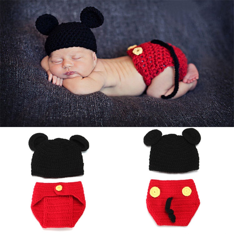 Children's Mickey Knitted Yarn Photography Two-piece Set Hand-knitted Yarn Newborn Baby Photo Props Baby Girl Hat