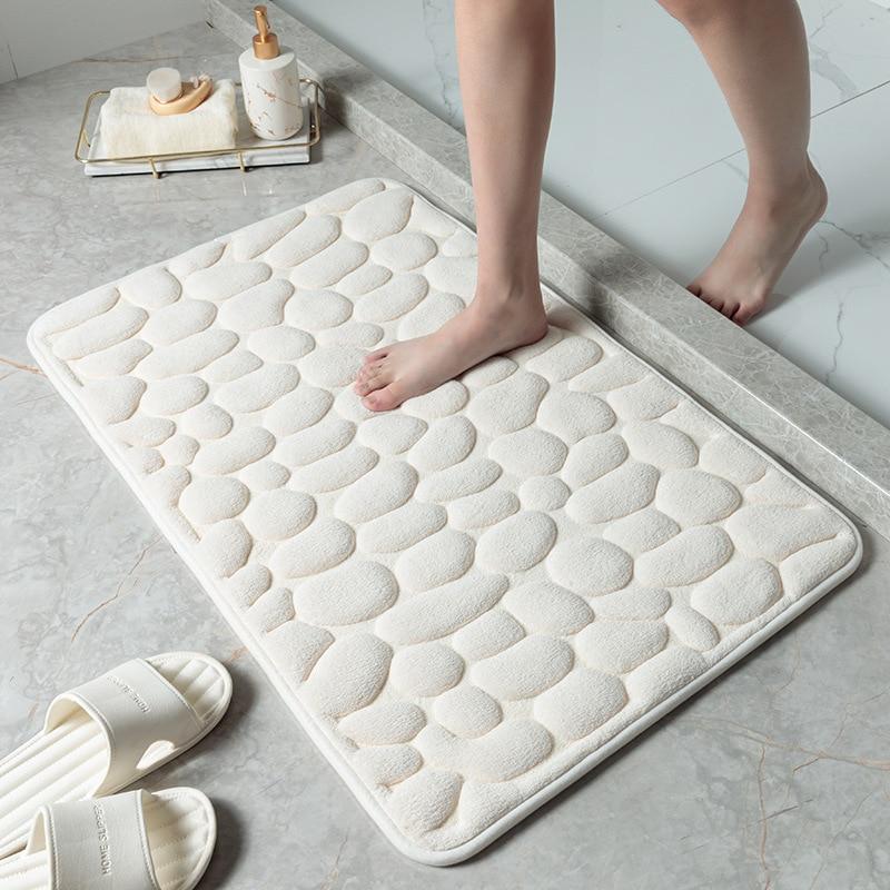 Bathroom Thicken Rebound Bath Mat Toilet Carpet Memory Foam Non-slip Bathtub Side Wash Basin Mat Embossed Stone Printing enlarge