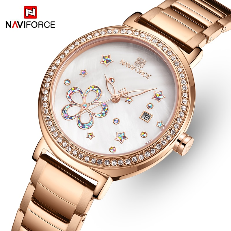 NAVIFORCE Top Brand Luxury Women Watch Rose Gold Steel Ladies Wrist Watches Bracelet Crystal Girl Cl
