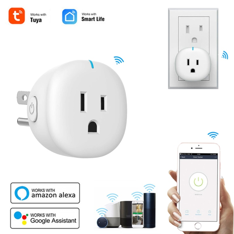10A US Standard WiFi Smart Plug Tuya APP Remote Control Home Appliances Works With For Alexa Google Home No Hub Require