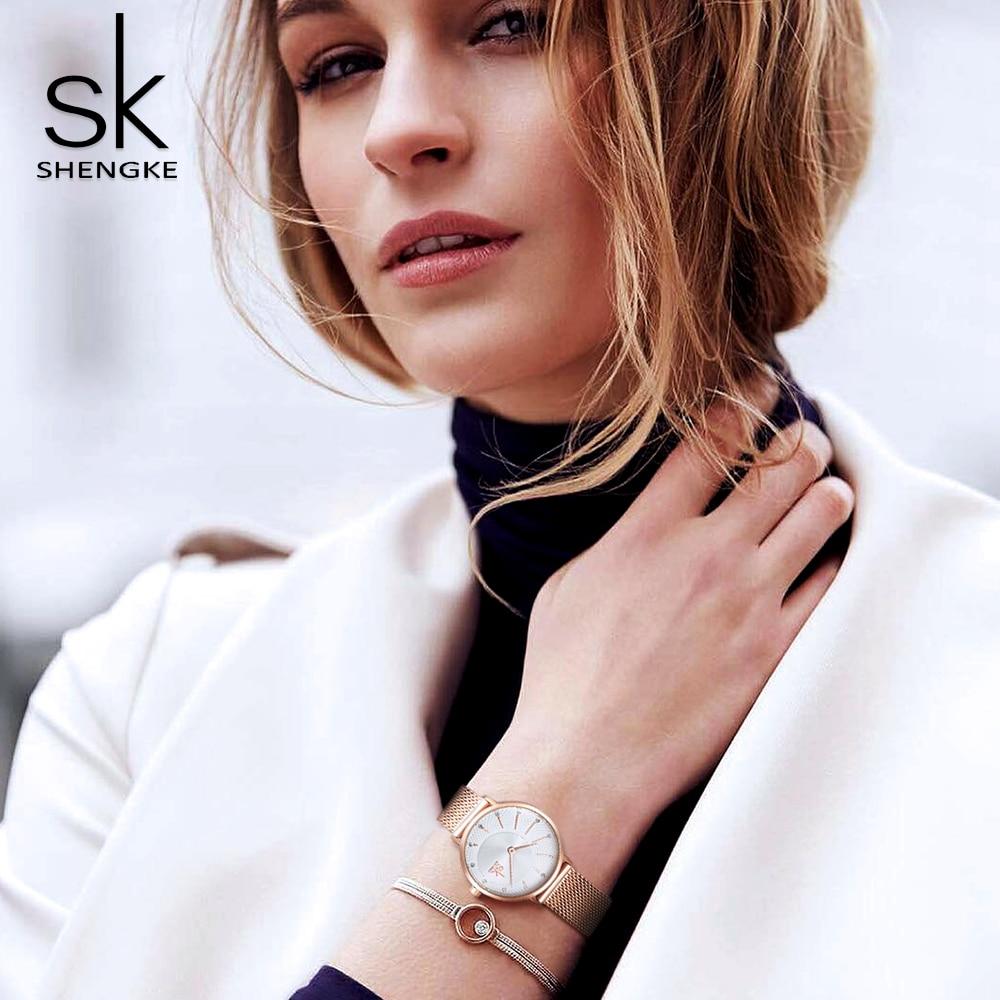 Shengke New Creative Women Watches Luxury Rosegold Quartz Ladies Watches Relogio Feminino Mesh Band Wristwatches Reloj Mujer enlarge