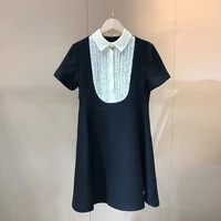 2021 spring newest fashion designe womens top quality lace patchwork white collar silk wool black dresses