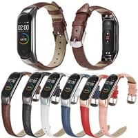 Браслет на запястье Кожаные Мокасины; Цвет серебристый, черный корпус из розового золота, Смарт-часы ремешок для Xiaomi Mi band 6, 5, 4, 3, ремешок смен...