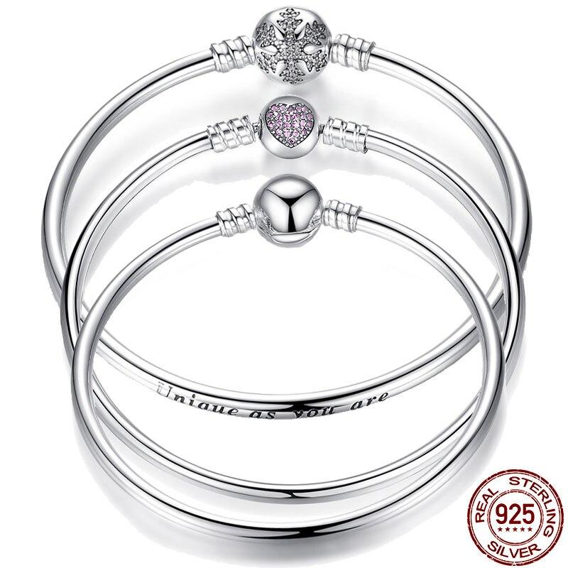 Pulseira 925 Sterling Silver Bracelet Femme Snowflake Heart Blue Eye Femme Snake Chain Bracelets & Bangles Women Jewelry