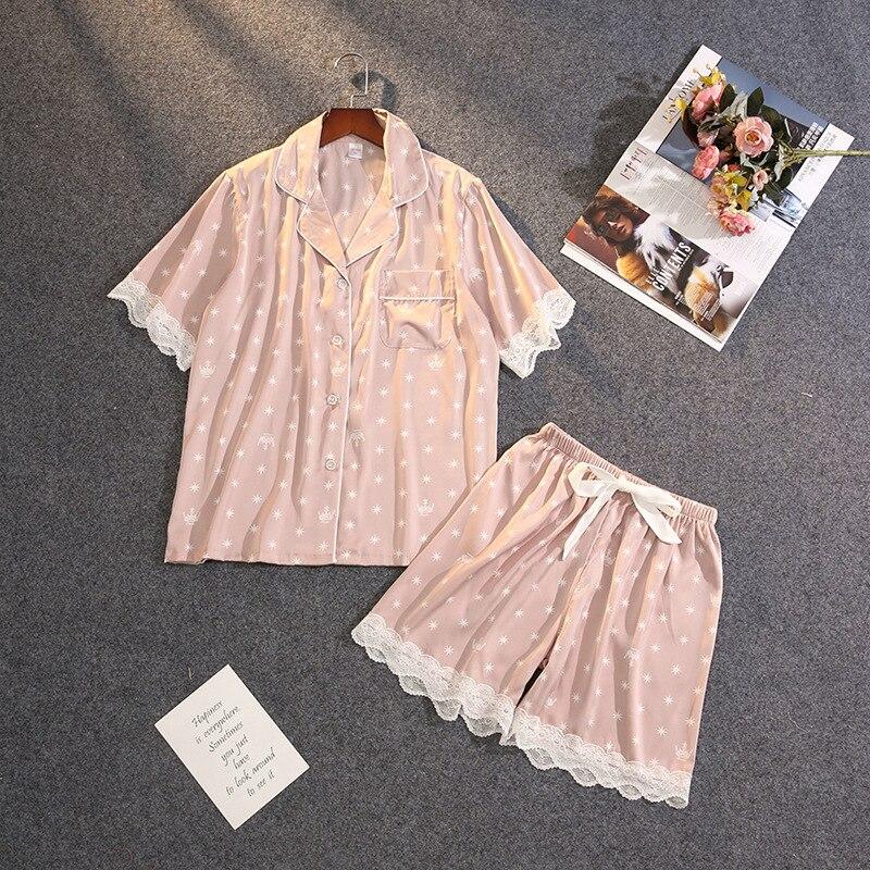 Pijama QWEEK de encaje para Mujer, pijama de satén para Mujer, Pijamas de verano con lunares, ropa de dormir Sexy para Mujer, conjunto de dos piezas 2020, camisón para Mujer