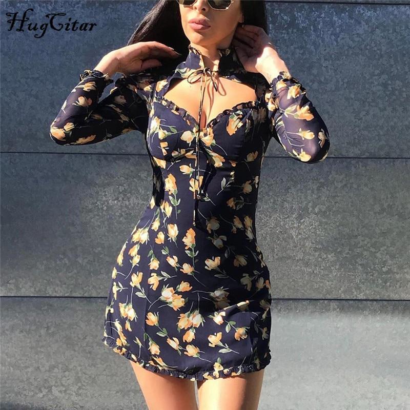 Hugcitar 2019 manga larga volantes vendaje floral mini vestido Otoño Invierno mujeres fiesta streetwear trajes elegantes