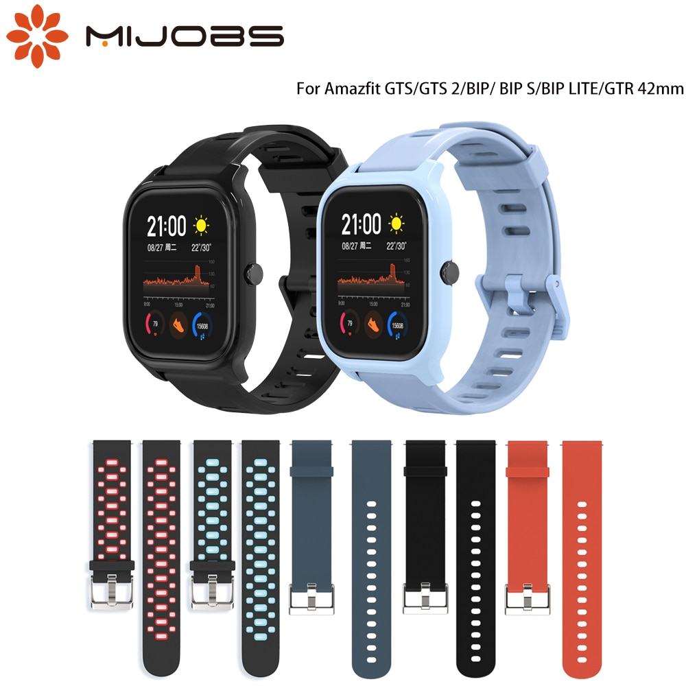 Strap for Amazfit GTS/GTS 2 Silicone Bracelet for Amazfit Bip/BIP S Wristband for Huami Amazfit BIP LITE/GTR 42 Smart Watch 20mm genuine leather loop magnetic band strap for huami amazfit bip bit pace lite youth smart watch closure buckle wristband bracelet