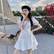 White Dress for Women Summer 2021 New Design Sense Irregular Lace up Temperament Short Skirt
