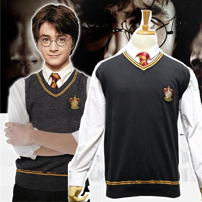 Hogwarts School Sweater Vest Cosplay Costumes Gryffindor Hufflepuff Ravenclaw Slytherin Woolen Waistcoat