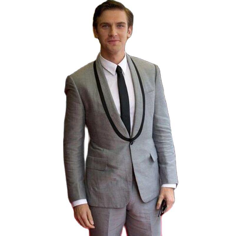 Light Grey Custom Made Groom Tuxedos Men Wedding Prom Suits Bridegroom Party Wear Formal Suit (Jacket+Pants)
