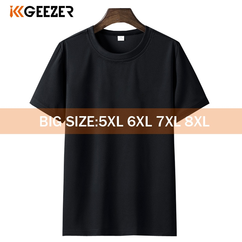 Black T-shirt Men 6XL 7XL 8XL Plus Size White Short Tshirt Summer Sport Running Fitness Breathable Tee shirts for Men Streetwear
